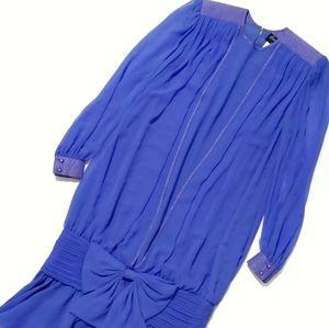VTG Blue Periwinkle Drop Waist Silk Party Dress